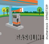 petroleum concept with price... | Shutterstock .eps vector #349607339
