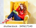 happy woman relaxing at home... | Shutterstock . vector #349617140