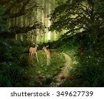 fawns in the middle of the... | Shutterstock . vector #349627739
