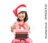 asian kid with santa claus hat... | Shutterstock . vector #349631510