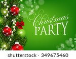 christmas wreath with fir and... | Shutterstock .eps vector #349675460