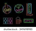 Set Of Retro Style Neon Light...