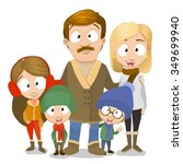 very adorable family portrait... | Shutterstock .eps vector #349699940