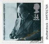 Small photo of MOSCOW, RUSSIA - NOVEMBER 05, 2015: A stamp printed by Great Britain shows Sir Alfred Joseph Hitchcock (1899-1980), by Howard Coster, series 20th Centenary Stars and Directors of Film, 1985