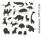 Stock vector africa animals silhouettes isolated on white background vector illustration africa animals contour 349711136