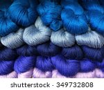Hanks Of Blue And Purple Yarns