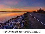 orange sunset by the side of... | Shutterstock . vector #349733078