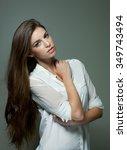 portrait of beautiful young... | Shutterstock . vector #349743494