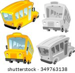 School Bus Set Of Cartoon Styl...