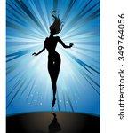 levitating woman fantasy themed ... | Shutterstock .eps vector #349764056