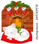 Stock vector cute little kittens sleeping near fireplace 349769978