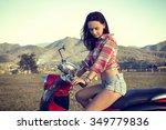 girl on red motorbike   Shutterstock . vector #349779836
