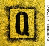 stencil letters in spray paint... | Shutterstock . vector #349792604