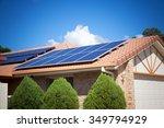 solar panels on the roof ... | Shutterstock . vector #349794929