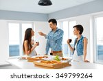 eating food. group of happy... | Shutterstock . vector #349799264