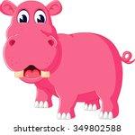 Cute Hippo Cartoon Of...