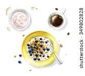 breakfast   watercolor food... | Shutterstock . vector #349802828
