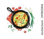 fritata   watercolor food... | Shutterstock . vector #349802846