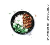 rice and chicken   watercolor... | Shutterstock . vector #349802870