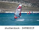 windsurfing in alacati  cesme ... | Shutterstock . vector #34980319