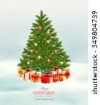 christmas tree with presents... | Shutterstock .eps vector #349804739
