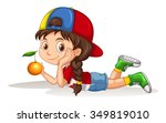 little girl and fresh orange... | Shutterstock .eps vector #349819010