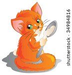 red kitten with spoon | Shutterstock .eps vector #34984816