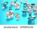 luxury diamonds on blue... | Shutterstock . vector #349850150