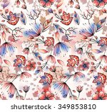 watercolor flower repeating... | Shutterstock . vector #349853810
