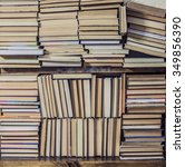 lots of books stacked in layers ... | Shutterstock . vector #349856390