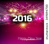 glowing new year 2016 card with ... | Shutterstock .eps vector #349894700