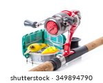 different fishing tackles on... | Shutterstock . vector #349894790