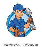 cartoon plumber holding a big... | Shutterstock .eps vector #349900748