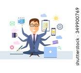 businessman with multitasking... | Shutterstock .eps vector #349900769