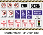 american traffic signs. vector... | Shutterstock .eps vector #349904180