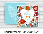 Valentine s day template greeting card. Flowers in heart shape on table wood top.  Heart made of flowers. Doodle Heart. Valentines day card.