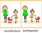 hand drawn little girl with...   Shutterstock .eps vector #349906490