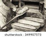 making bread   vintage   old... | Shutterstock . vector #349907573