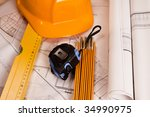 Renovation plan - stock photo