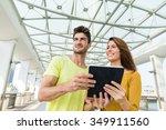 caucasian couple traveler use... | Shutterstock . vector #349911560
