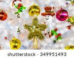 white christmas tree hang toy... | Shutterstock . vector #349951493