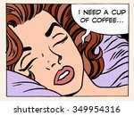 a woman dreams of the morning... | Shutterstock .eps vector #349954316