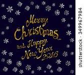 golden glowing merry christmas... | Shutterstock .eps vector #349967984
