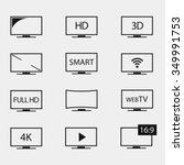 tv icons vector set. tv screens ... | Shutterstock .eps vector #349991753