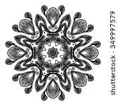 black vector mandala on white... | Shutterstock .eps vector #349997579