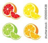 vector set of lemon  orange ... | Shutterstock .eps vector #350000438