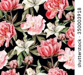 watercolor pattern with flowers ... | Shutterstock . vector #350003918