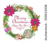 christmas decorative wreath   Shutterstock . vector #350015438