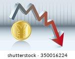 yen is going down. diagram of... | Shutterstock .eps vector #350016224