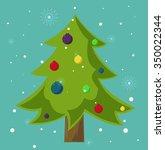 fir tree  christmas  balls | Shutterstock .eps vector #350022344